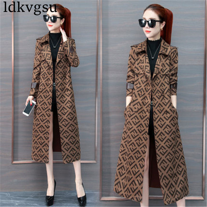 Fashion high-end Long   Trench   Coat Women 2019 Spring Autumn caramel color print temperament Slim Coats Female V415