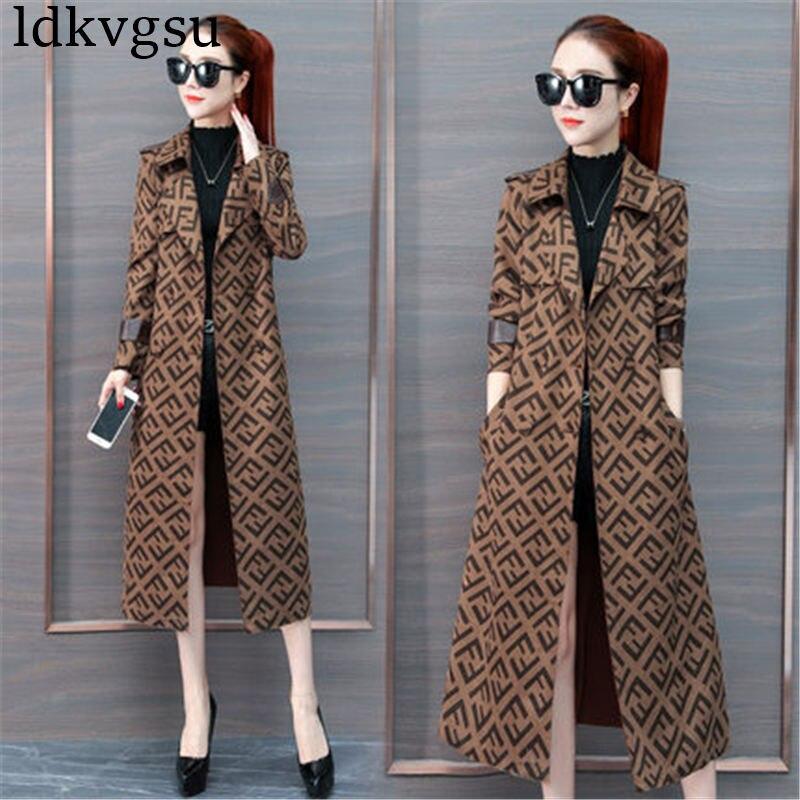 Mode haut de gamme Long Trench Coat femmes 2019 printemps automne couleur caramel imprimer tempérament mince manteaux femelle V415