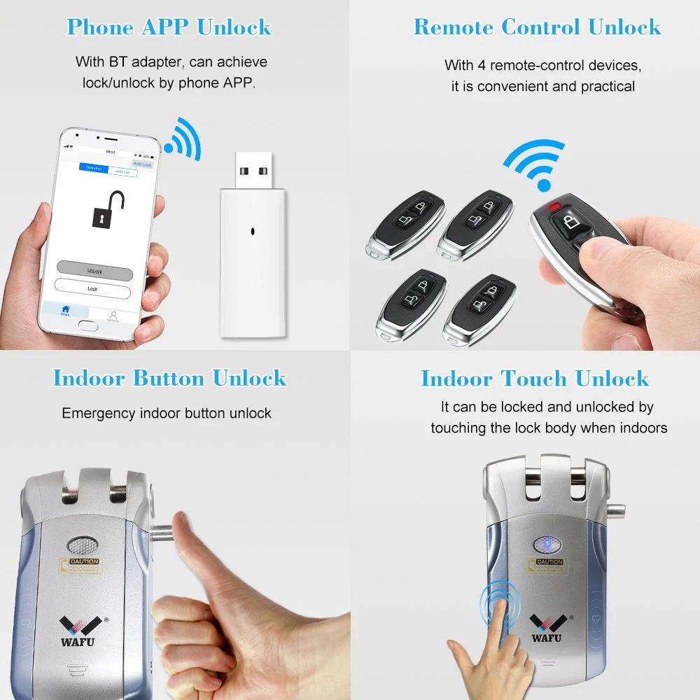 WAFU WF 010U Wireless Security Invisible Keyless Entry Door Intelligent Lock iOS Android APP Unlocking with 4 Remote Keys - 3