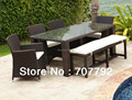 2014 New design Wicker 7pcs Dining set, Long PE Rattan Glass Dining Table /Chairs