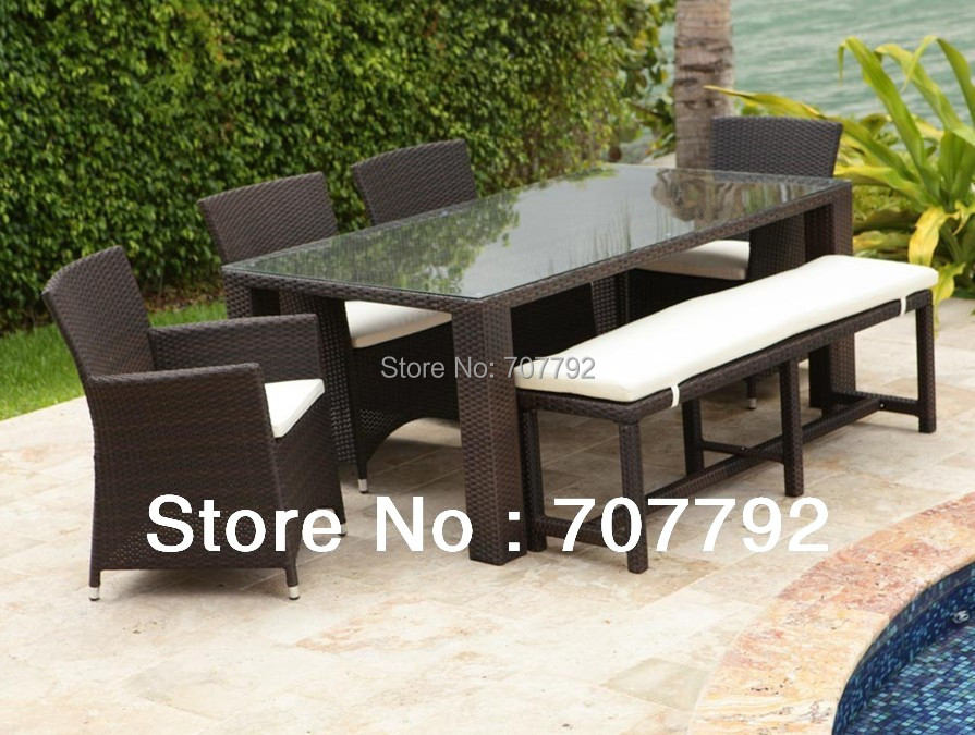 2014 new design wicker 7pcs dining set long pe rattan glass dining table chairs