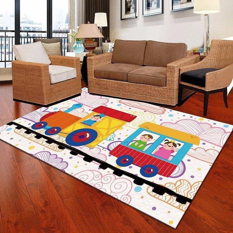 Tapis mignon de bande dessinée de Train pour le salon Fruit Cactus enfants tapis de jeu de chambre tapis de salle de bains tapis de salon de grande taille tapetes