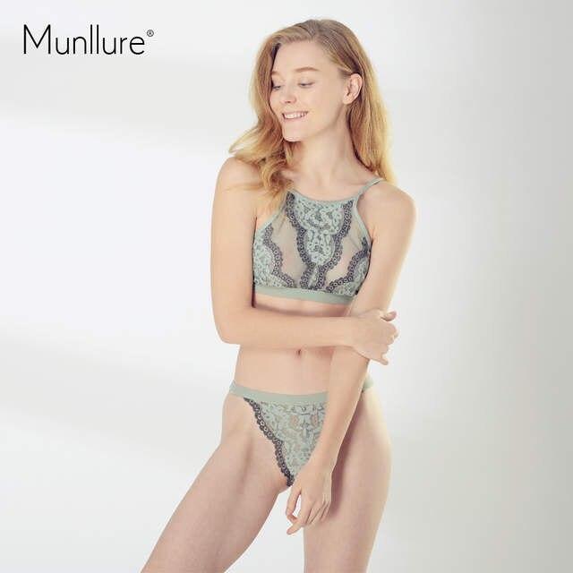 33d057f333 Online Shop Munllure Women s Sexy Floral Lace Bralette Ultra-Thin Underwear  Bicolor Comfortable Hang Neck Bra Set Hot Sale