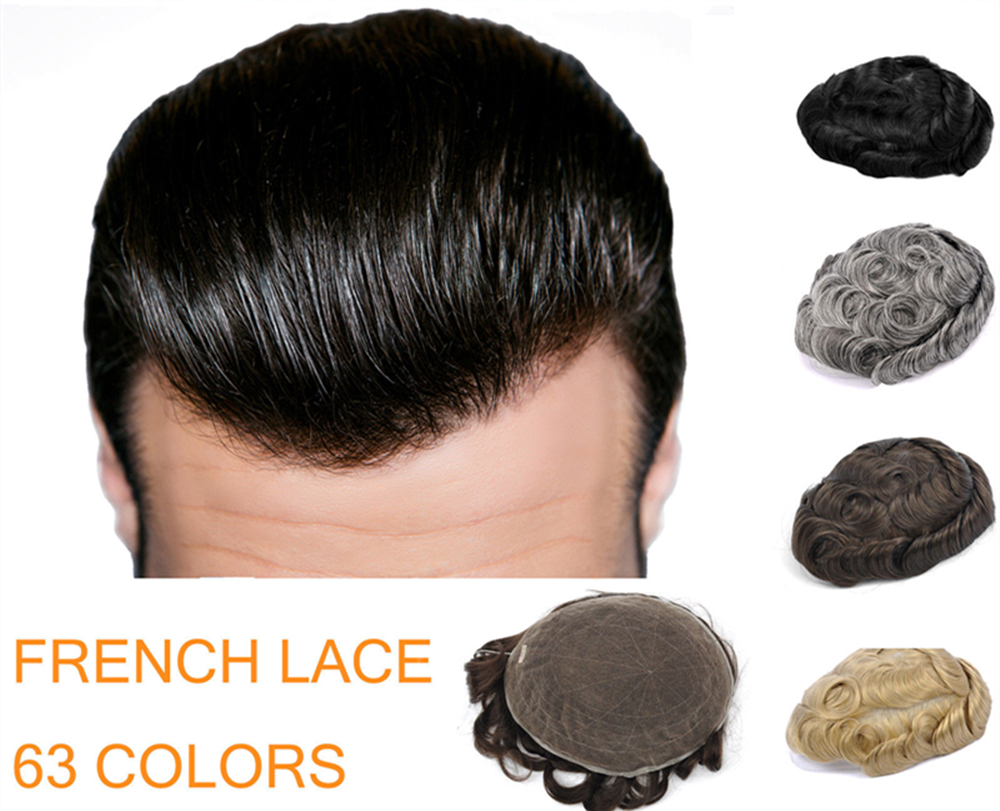 High Qulity 62 Colors French Lace 8 10 Slight Wave Medium Light Mens Hair Piece Toupee