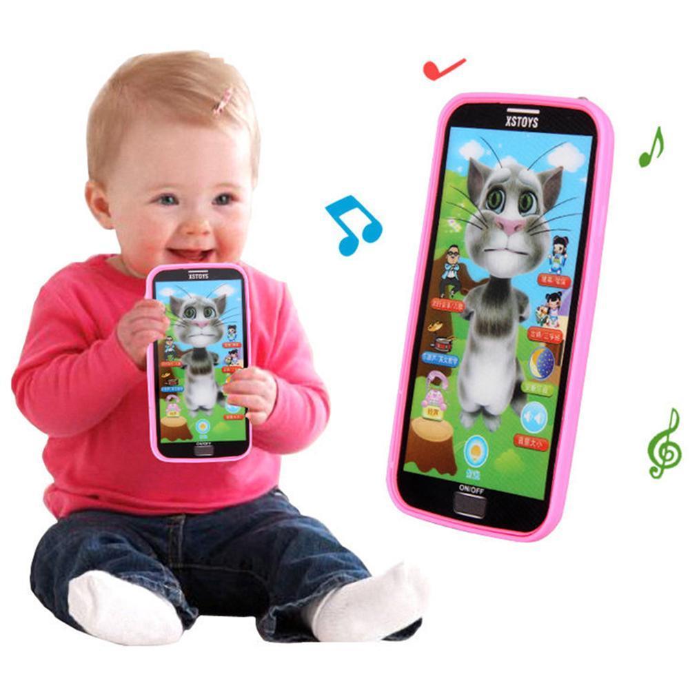 Jouet Smartphone Educatif Musical d/écran Tactile Double Affichage Portable Electronique Multifonctionnel Jeux Dapprentissage avec Son Ecran danimation de Bande Dessin/ée Cadeau B/éb/é Enfant