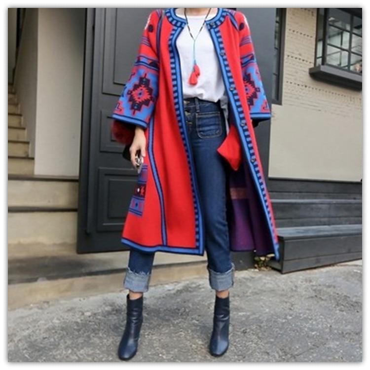 2017 New Fashion Womens Autumn Winter Long Jacket Folk Style Geometric Pattern Long Knitted Cardigans Loose Sweater Outwear Coat