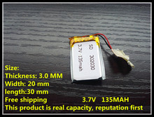 1 PCS free shipping 3.7V lithium battery 302030 032030 135mah MP3 MP4 GPS Bluetooth cell battery toys