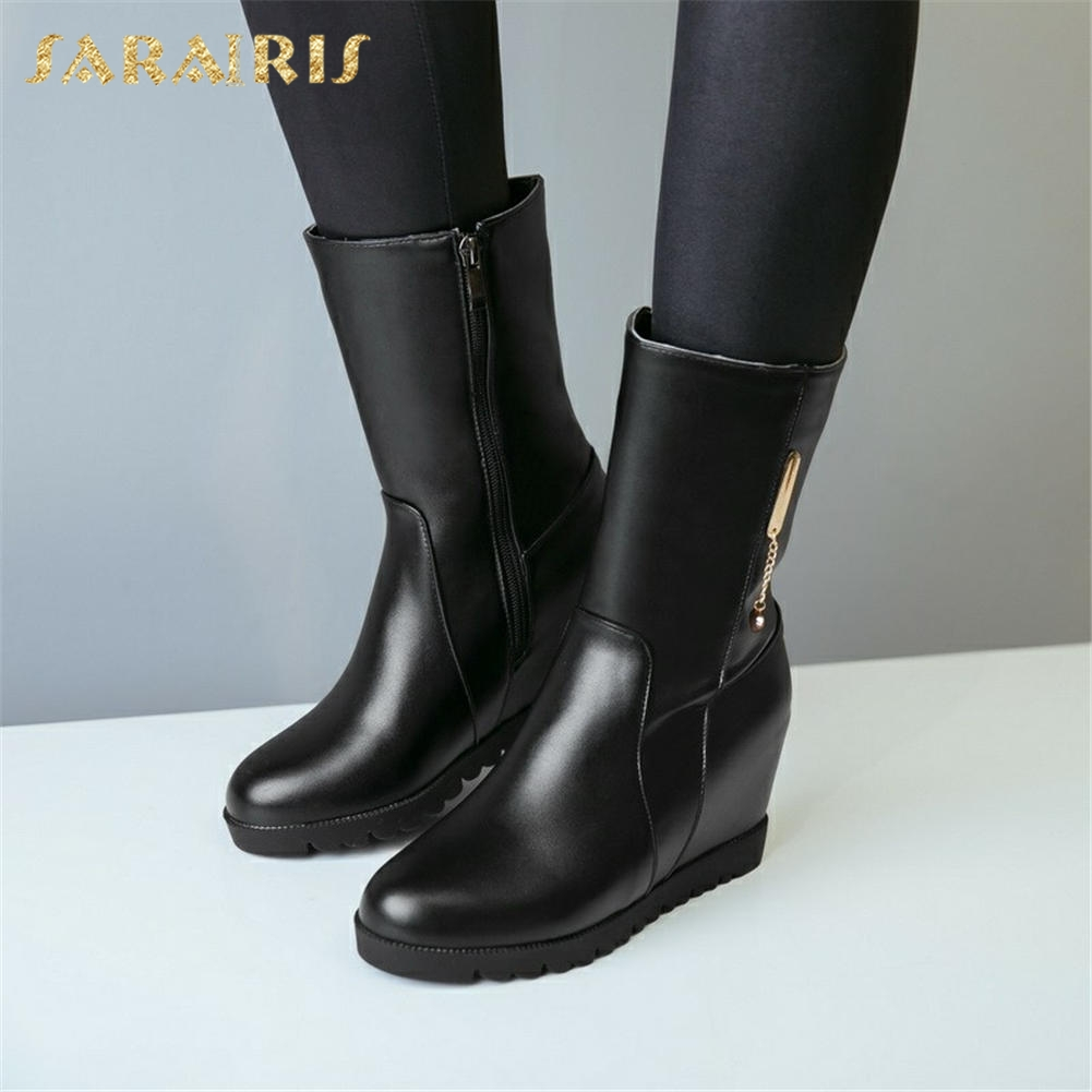 46e253e83598c Noir Chaussures Sarairis marron Grande Mode mollet Taille Femmes Neige  Bottes 2018 Mi Intérieure 33 ...