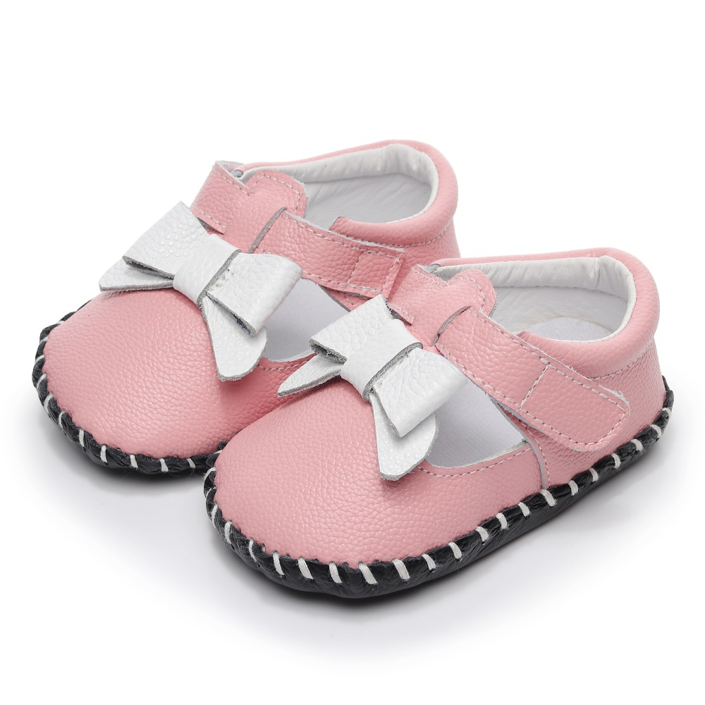 Genuine leather newborn baby girl shoes white bowknot mary jane shoes infant soft sole toddler moccasins 0-24M first walkers