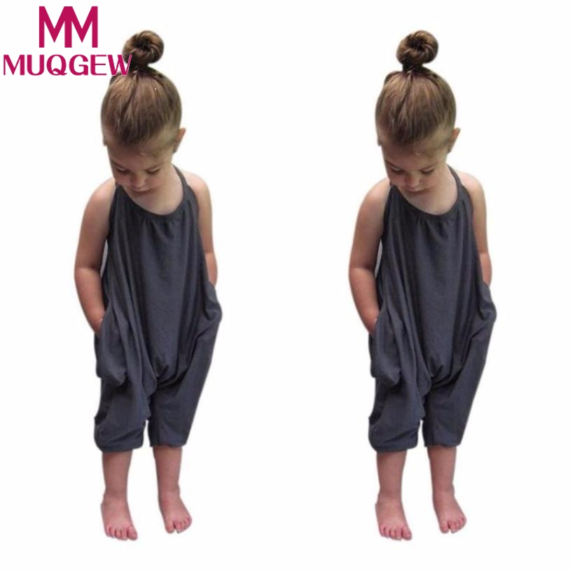 MUQGEW 2018 Baby girls Romper jumpsuit Fashion Kids Baby Girls Strap Cotton Romper Jumpsuit Harem Trousers Summer Clothes 2017 summer toddler kids girls striped baby romper off shoulder flare sleeve cotton clothes jumpsuit outfits sunsuit 0 4t