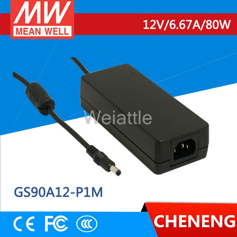 MEAN WELL original GS90A12-P1M 12V 6.67A meanwell GS90A 12V 80W AC-DC Industrial Adaptor hot sale mean well gsm90b12 p1m 12v 6 67a meanwell gsm90b 12v 80w ac dc high reliability medical adaptor
