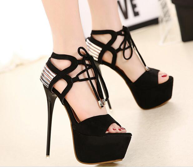 ФОТО Newly arrival woman shoes top quality summer sandals super high heel stiletto heel black shoes noble shoes lace-up closure type