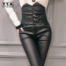 Хит, сексуальные женские брюки из искусственной кожи с высокой талией, узкие леггинсы с пуговицами, узкие брюки, уличная одежда, женские длинные брюки из искусственной кожи