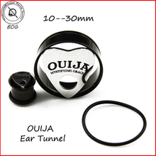 Pair Anodized Black 316L Stainless Steel Single Flare With O Ring Ear Tunnel Plug Ouija Board Expanders Piercing Body Jewelry