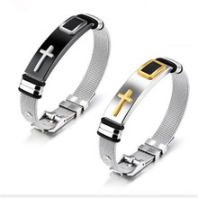 1 PC Titanium Steel Jewelry Europe and America Cross Net with Personality Bracelet Mens