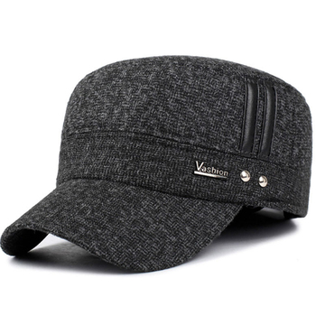 VORON Winter cotton hats men caps hat with earflaps keep warm flat roof baseball caps old men thicken snapback Russia casquette бейсболк мужские