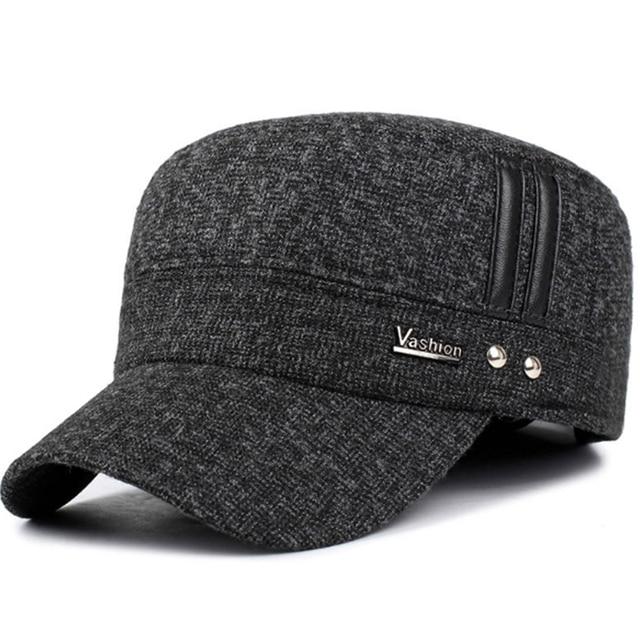 7fadb74856b VORON Winter cotton hats men caps hat with earflaps keep warm flat roof baseball  caps old
