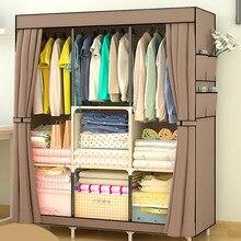 Нетканая большая шкаф Кофе Тканевый шкаф Портативный складной пыленепроницаемый Водонепроницаемый хранения шкаф, домашняя мебель