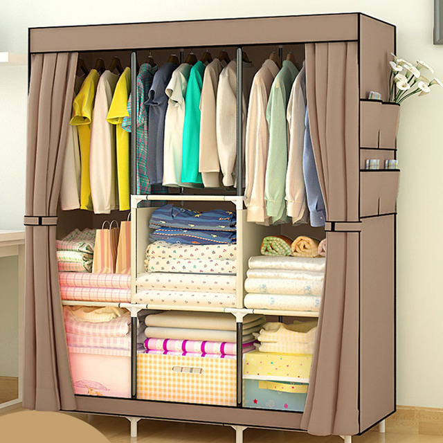 Non woven Large Wardrobe Coffee Fabric Closet Portable Folding Dust proof Waterproof Storage Cabinet Home Furniture