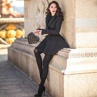 Le palais Винтаж 2018 Вт элегантный трапециевидной формы драпировки шерстяное пальто для женщин тонкий высокой талией одной пуговице