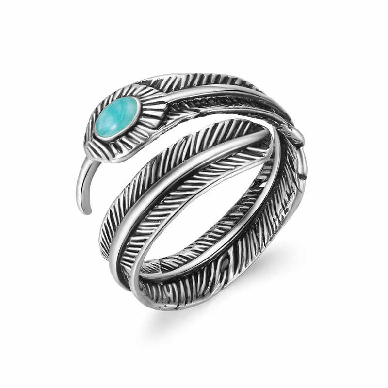 1 Pcs Bohemia Africa Feather With Blue Stone Open Adjustable Ring Ancient Silver Color Punk Ring For Women Men Jewelry R145