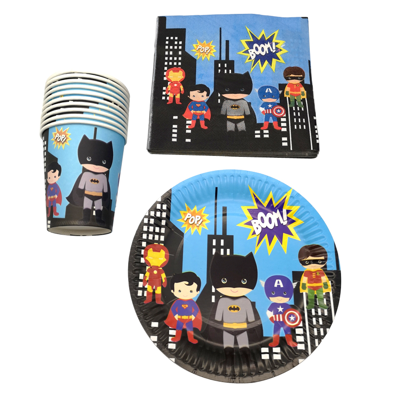 60pcs/lot Happy Birthday Party Batman/Superman/Iron Man Plates Decorate Cups Boys Favors Super Hero Theme Baby Shower Napkins