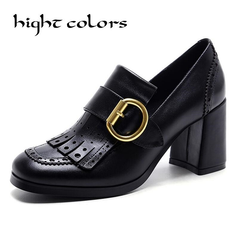 2018 Fashion Women Brand Shoes High Heel Genuine Leather Metal Buckle Tassel Hollow Slip On Women Pumps Office Lady Shoes nayiduyun women genuine leather wedge high heel pumps platform creepers round toe slip on casual shoes boots wedge sneakers
