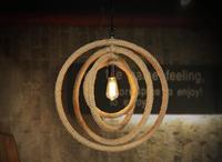 country retro restaurant lamp multilayer small round creative European restaurant hemp single head pendant lamp GY221