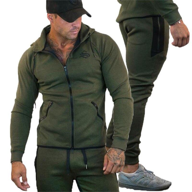 GYMLOCKER hommes ensemble 2018 vêtement de sport à capuche sweat survêtement décontracté vêtement d'extérieur à glissière 2 PC Hoodies + pantalons ensembles homme - 4