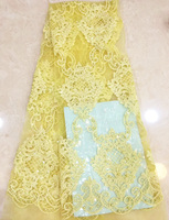 (5yards/pc) African tulle lace yellow French net lace fabric with wonderful embroidery and beads sequins for party dress FLZ025