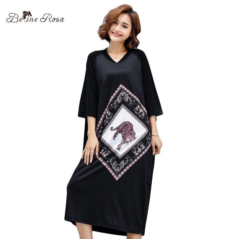 BelineRosa 2018 Style Européen Femmes Robes Chemise Petit Col V Imprimé Animal De Mode T-shirts Robe pour Femmes TYW00792