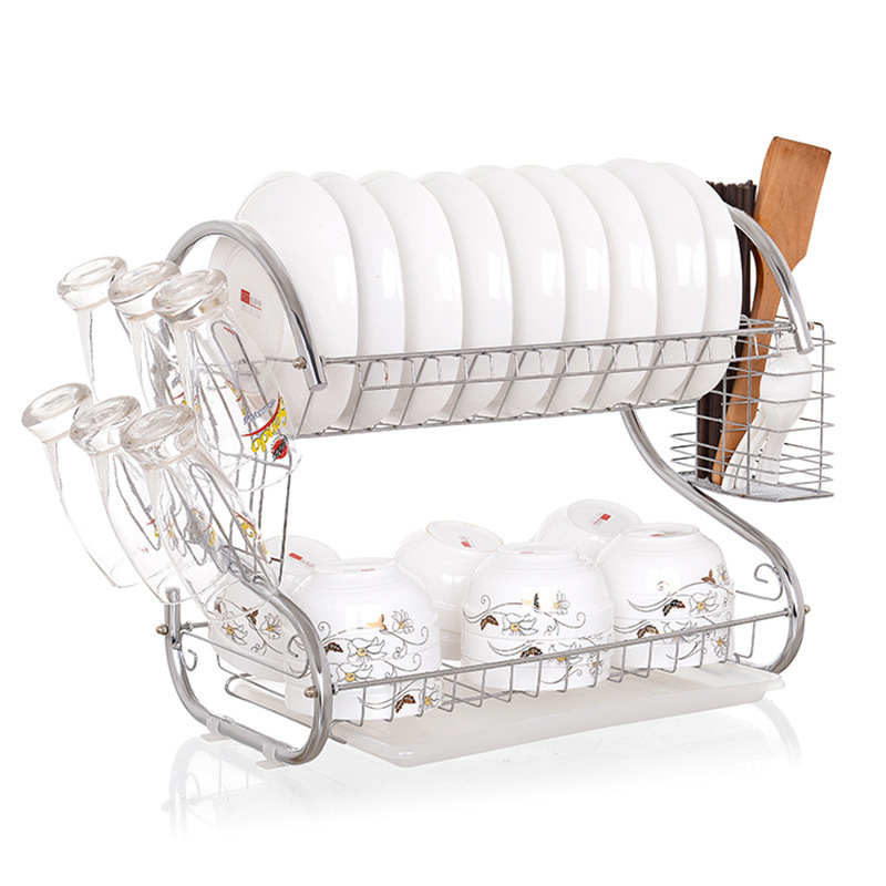 EVERSO S-Shaped Dish Rack Set 2-Tier Chrome Stainless Plate Dish Cutlery Cup Rack With Tray Steel Drain Bowl Rack Kitchen Shelf kitchen dish rack 2 tier black dish drainer drying rack washing organizer large capacity holder