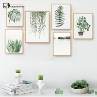 Watercolor Plant Leaves Poster Print Landscape Wall Art Canvas Painting Picture For Living Room Home Decor