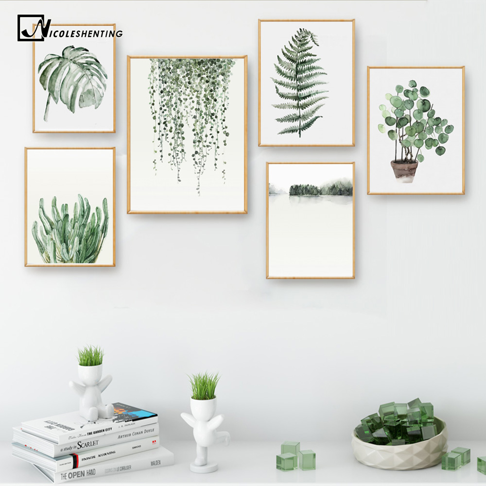 Watercolor Plant Leaves Poster Print Landscape Wall s