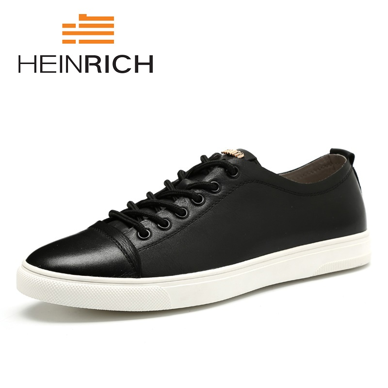 HEINRICH New 2018 Spring Summer Genuine Leather Shoes Men Low Top Black Shoes Mens Brand Fashion Casual Shoes Sapato BrancoHEINRICH New 2018 Spring Summer Genuine Leather Shoes Men Low Top Black Shoes Mens Brand Fashion Casual Shoes Sapato Branco