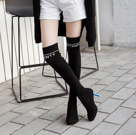 Winter Warm Long Boots Sock Jersey Oval Lighter-Heel Over Knee High Heel Women Boots Stretch Cuissardes Lady Shoes Plus Size 43