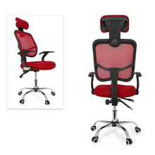 NOCM-Seat Height Adjustment Office Computer Desk Chair Chrome Mesh Seat Ventilate Colour:Red
