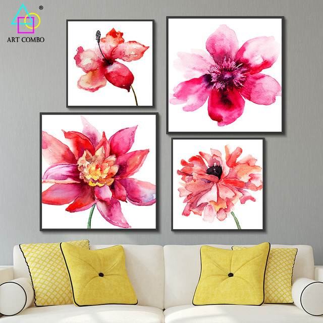 Traditional Chinese Canvas Painting Bright Colored Beautiful Flowers ...