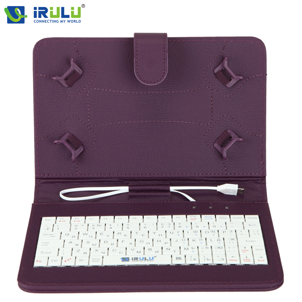 Original iRULU RUSSIAN KEYBOARD Case for 7Tablet PC Pad Leather Cover With Micro USB Keyboard For Using Russian People russian keyboard 10 inch tablet case for using russian language leather micro usb keyboard case to plate tablet device