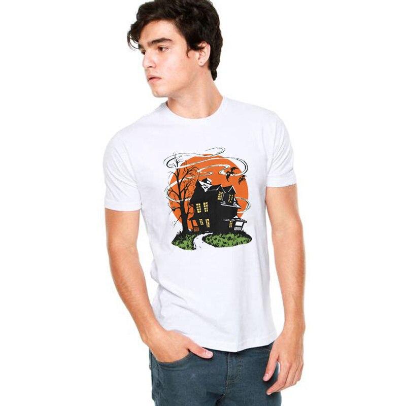 c0c2344f SexeMara Vintage Halloween Haunted House Mens T-Shirts Halloween Design  Funny Anime T-Shirts