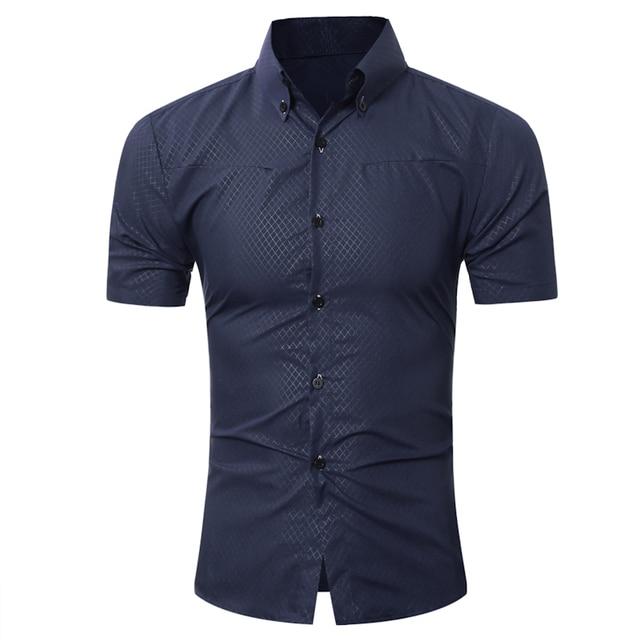 Brand 2017 Fashion Male  Hawaiian Shirt Short-Sleeves Tops Small Grid Solid Color Mens Dress Shirts Slim Men Shirt 5XL
