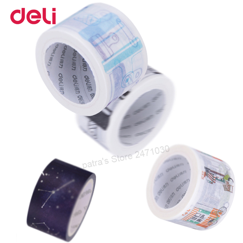 Deli Colorful adhesive Washi masking tape set Creative Scrapbooking Stickers Decorative School Office supplies stationary