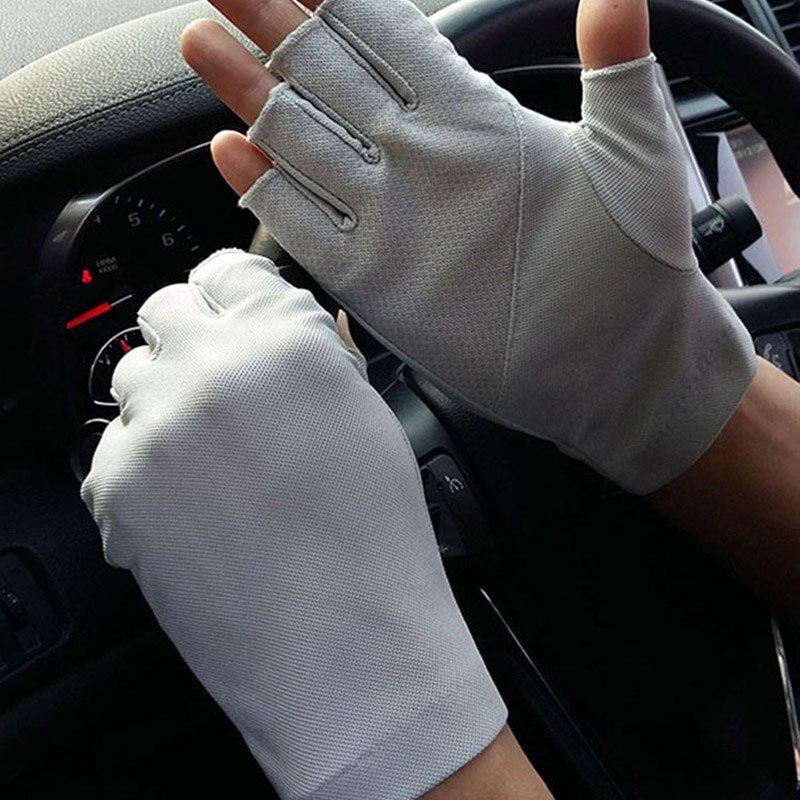Men's Summer Outdoor Sports Fitness Cycling Sunscreen Short Sun Gloves Thin Cotton Half Finger Touch Screen Driving Gloves B93
