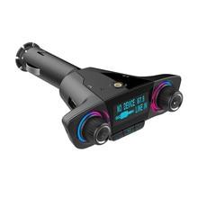 12-24V большой экран дисплей Напряжение двойная кнопка автомобильный Bluetooth MP3 FM передатчик Aux автомобильное зарядное устройство комплект Usb для iphone#30