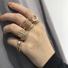 Simple Ethnic Style, Multi-element Handwear, Female Individuality Creative Carving Heart-shaped Meniscus Ring