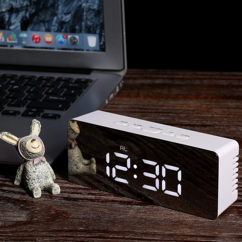 Pantalla LED Digital de escritorio Mesa Digital relojes reloj espejo 12 H/24 H de alarma y función de repetición termómetro ajustable luminancia