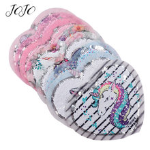 JOJO BOWS 16*14cm Sequin Fabric Heart Pattern Unicorn Mermaid Embroidery Sheet For Home Textile Sewing Patches Party Decoration(China)