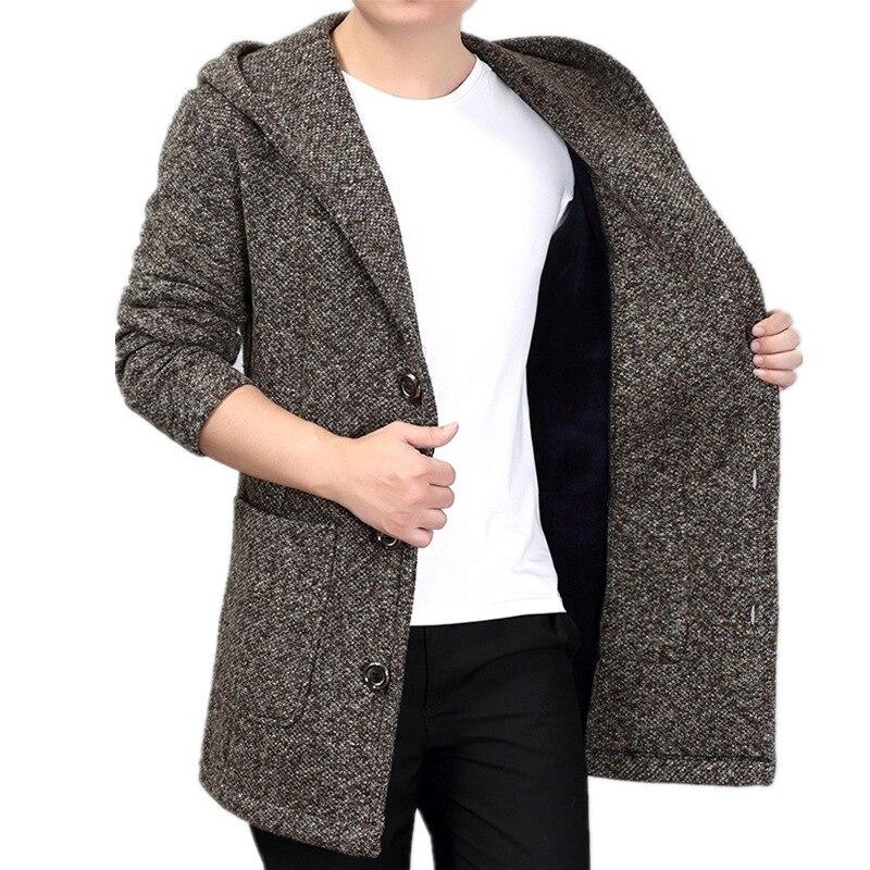 Wool Coat Jacket Korean Men's Winter Fashion Warm Knit Plus Long for Harajuku Hooded
