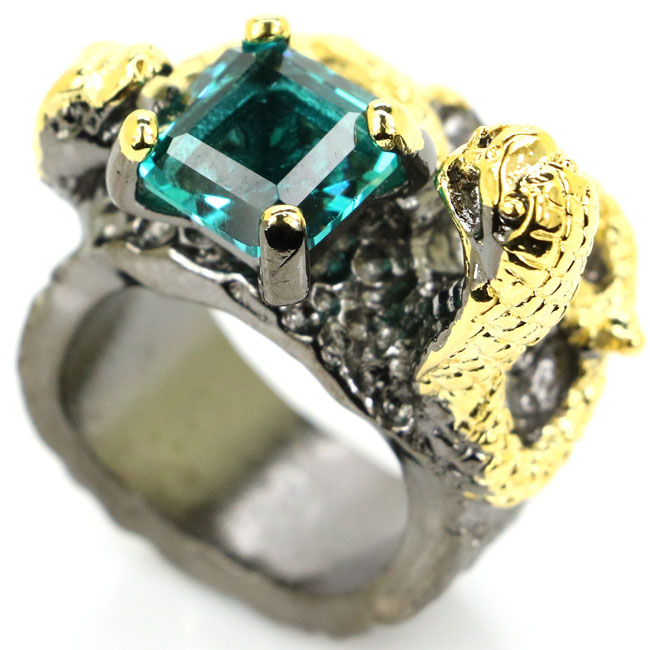 6.75# Vintage Style Rich Blue Aquamarine Womans Gift Black Gold Silver Ring 27x18mm