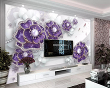Beibehang Custom wallpaper exquisite three-dimensional purple flower jewelry TV background wall decoration mural 3d